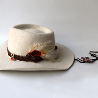 Vintage original Australian country western Akubra Snowy River cream white fur felt hat