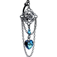 Vintage Blue Heart Top Mount Belly Ring MADE WITH SWAROVSKI ELEMENTS | Body Candy Body Jewelry