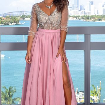 Dusty Rose Maxi Dress with Silver Jewels and 3/4 Sleeves
