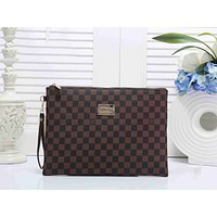 LV Louis Vuitton Popular Women Shopping Leather Tote Handbag Wallet Clutch Wrist Bag Coffee Tartan I-KSPJ-BBDL