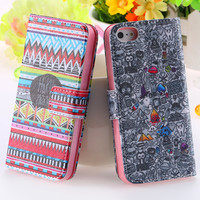 New Aztec Tribal Tribe Pattern Case For iPhone 5 5s 4 4s Retro Vintage PU Leather Flower & Tower Heart Stand Flip Wallet Cover