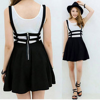 Retro Women Hollow Mini Skater Skirt Cute Suspender Clothes Straps High Waist Skirts New