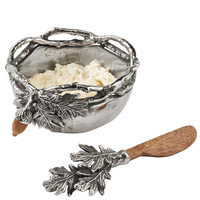 Mud Pie Acorn Metal Dip Bowl & Wooden Spreader Set