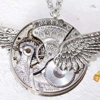 Steampunk Necklace - Incredible Wing 111 Yrs Old Spade GUILLOCHE ETCHED WALTHAM Antique Pocket Watch Movement Silver Men Steampunk Necklace