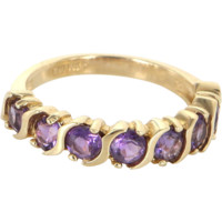 Amethyst Stacking Ring Vintage 14 Karat Yellow Gold Estate Fine Jewelry Sz 6.25