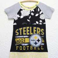 Upcycled Pittsburgh Steelers Tshirt Dress, Recycled Steelers T Shirt Dress, Girls Tshirt Dress Size 8, Pittsburgh Steelers T Shirt Dress