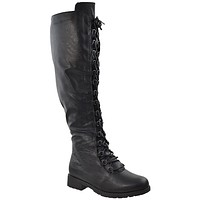 Womens Knee High Boots Faux Leather Lace Up Combat Shoes Black