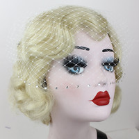 Blusher Half Veil with Crystals - Any Color - You Choose