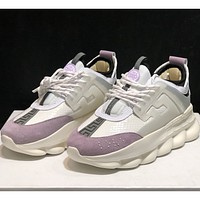 Versace fashion casual sneakers with thick bottoms and low tops are for both men and women