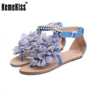 gladiator sandals for women bohemia beaded summer flower flat heels flip flops women's shoes T-straps sandals size 35-43 WC0118