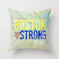 Boston Strong Throw Pillow 16 x 16 Colorful by BrandiFitzgerald