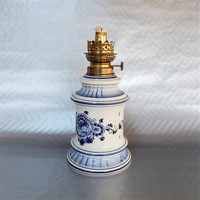"""Vintage Oil Lamp, Delft Blue Ceramic, Made in Holland, 11"""" Tall"""
