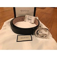 NEW GUCCI BIG GG Men's Leather Belt - Size 30-32