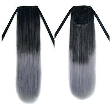 Wig Horsetail Granny Grey Lace-up    MW black to light granny grey straight