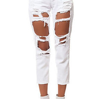 Reverse Destroyed Pants Boyfriend Jeans - White
