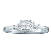 Diamond Ladies Bridal Ring with 4 Stone Princess Center in 14k White Gold 0.25 ctw