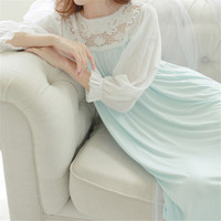 New Arrivals Soft Sleepwear Lace Home Dress Comfortable Sexy Nightgowns Sleepshirts Solid Sleep & Lounge Nightgown Female #H92