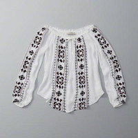ANF Embroidered Off The Shoulder Top | ANF Womens | Abercrombie.com