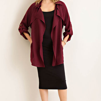Solid Open Trench Coat with Self Ties