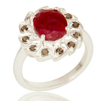 925 Sterling Silver Dyed Ruby Gemstone And Smoky Quartz Cocktail Ring