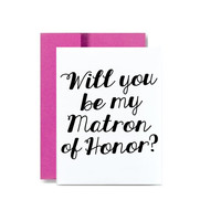 Simple pretty magenta will you be my matron of honor greeting card hot pink invite invitation wedding bridal party matron of honor