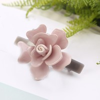 Luxury Cellulose Acetate Camellia 3D flower hair spring clips hair barrettes accessorie for women fashion jewelry tiara hairpins