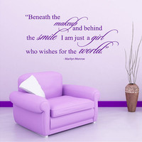 Housewares Marilyn Monroe Quote Wall Vinyl Decal Beneath the makeup, behind the smile V261