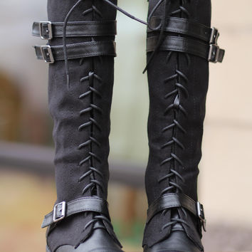 Running Into Town Tall Lace Up Boots-Black