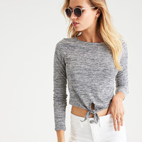 AEO Soft & Sexy Tie-Front Crop T-Shirt, Natural White