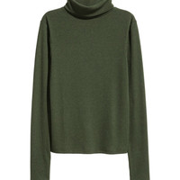 Ribbed Turtleneck Top - from H&M