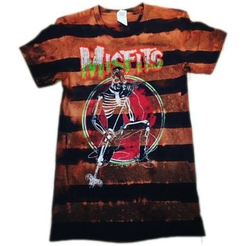 Striped Hand Bleached Misfits Band Tee