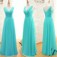 Turquoise Prom Dress Custom Made Size Color Elegant Formal V Neck Spaghetti Strap Zipper Up Back Long Chiffon Turquoise Evening Dresses