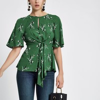 Green tie front short sleeve blouse - Blouses - Tops - women