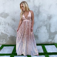 Light Up The Night Rose Gold Ombre Sequin Maxi Dress