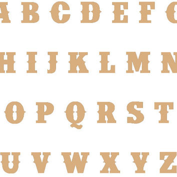 Unfinished Wood Letters - Western Country Cowboy Font