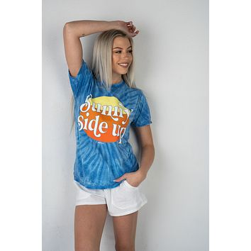 Sunny Side Up Blue Tie Dye Graphic Tee (S-3XL)