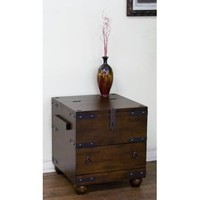 Sunny Designs Santa Fe Trunk End Table In Dark Chocolate