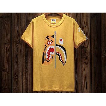 Bape personality tide brand tiger head stitching shark round neck short-sleeved T-shirt F-A-KSFZ Yellow