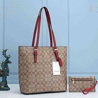 Coach Bag Women Shoulder Bag Shopping Bag CC Print Bag Apricot