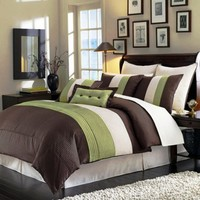 "My Associates Store - 8 Pieces Beige, Green and Brown Luxury Stripe Comforter (104"" X 92"") Bed-in-a-bag Set King Size Bedding"