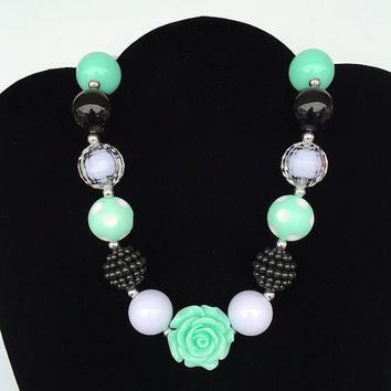 Black Mint Rose, Bubblegum Necklace