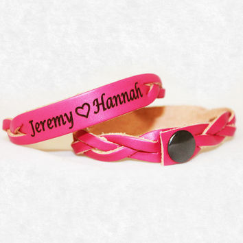 Pink Leather with Custom Names