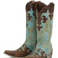 Lane Boots Dawson in Turquoise & Brown Cowgirl Boots