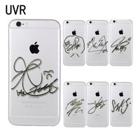 UVR Brand BTS signature Phone Case Cover for iPhone 5 5s 6 6s 7 8 Plus X Transparent soft case for  samsung S6 S7 S8 edge Note 5