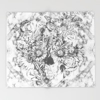 Bookmatched Skull Throw Blanket by Kristy Patterson Design