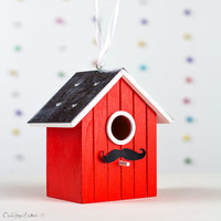 Wooden Red Bird House for Home Indoor Outdoor, Wedding, Engagement Party, Moustashe Baby Shower Decoration, Hostess Gift