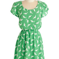ModCloth Critters Mid-length Short Sleeves A-line Dino My Gosh Dress in Lime