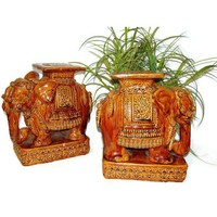 Pre-owned 1960s Vintage Pair Elephant Statues Boho Home