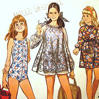 1960s Girls Bathing Suit Pattern McCall's with Dress or Cover Up size 8 UNCUT