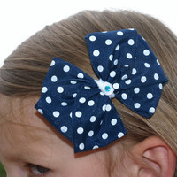 Navy blue with white polka dot hair bow- hair clips- girls accessories